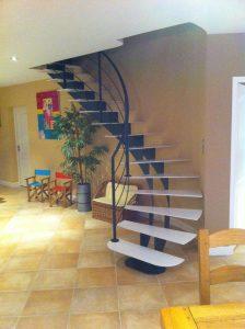 escalier limon central courbe MFD GOUDARD